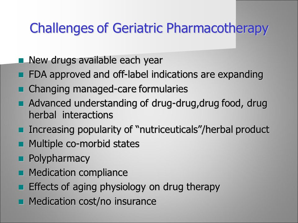 Challenges of Geriatric Pharmacotherapy