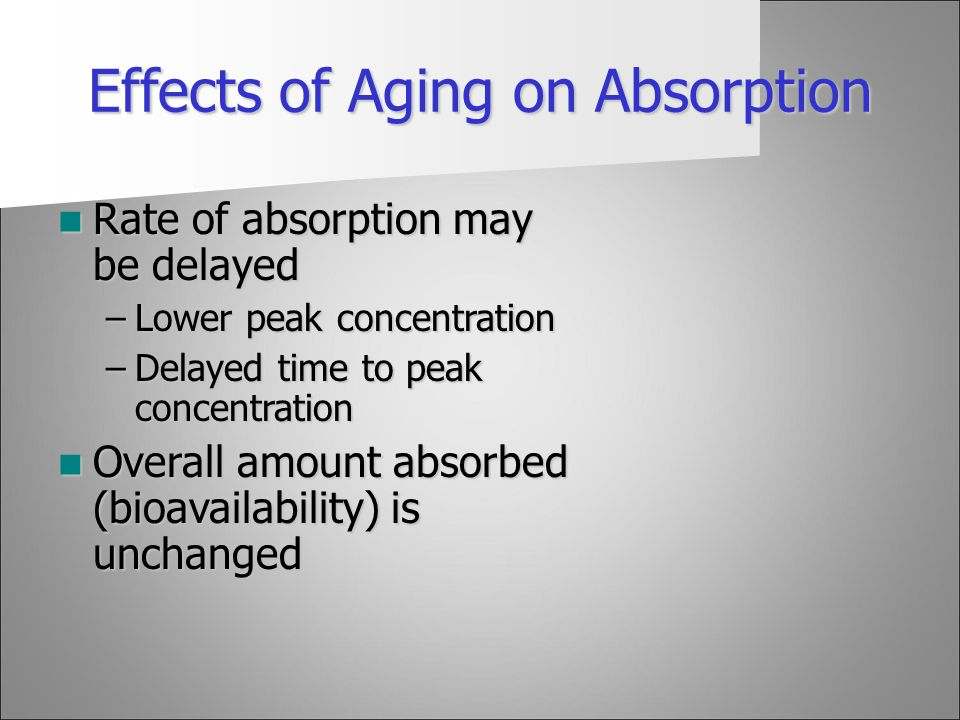 Effects of Aging on Absorption
