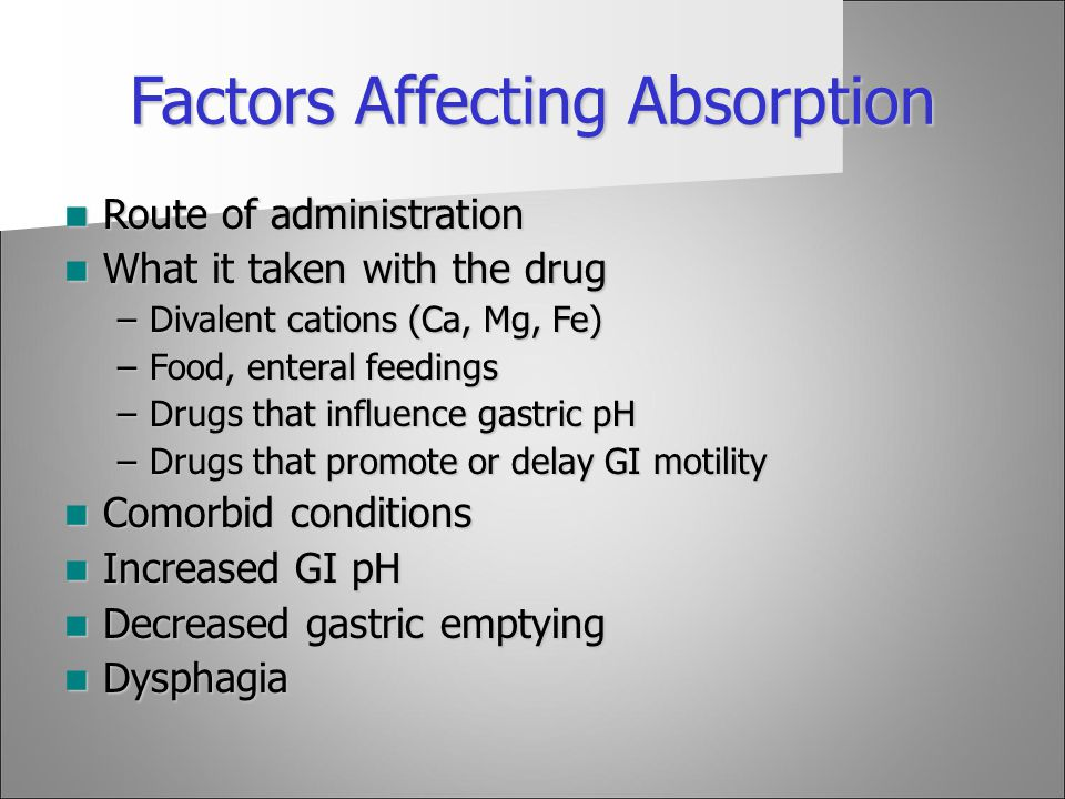 Factors Affecting Absorption