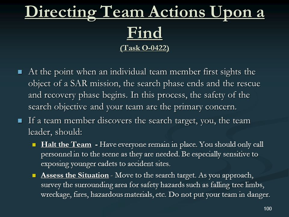 Directing Team Actions Upon a Find (Task O-0422)