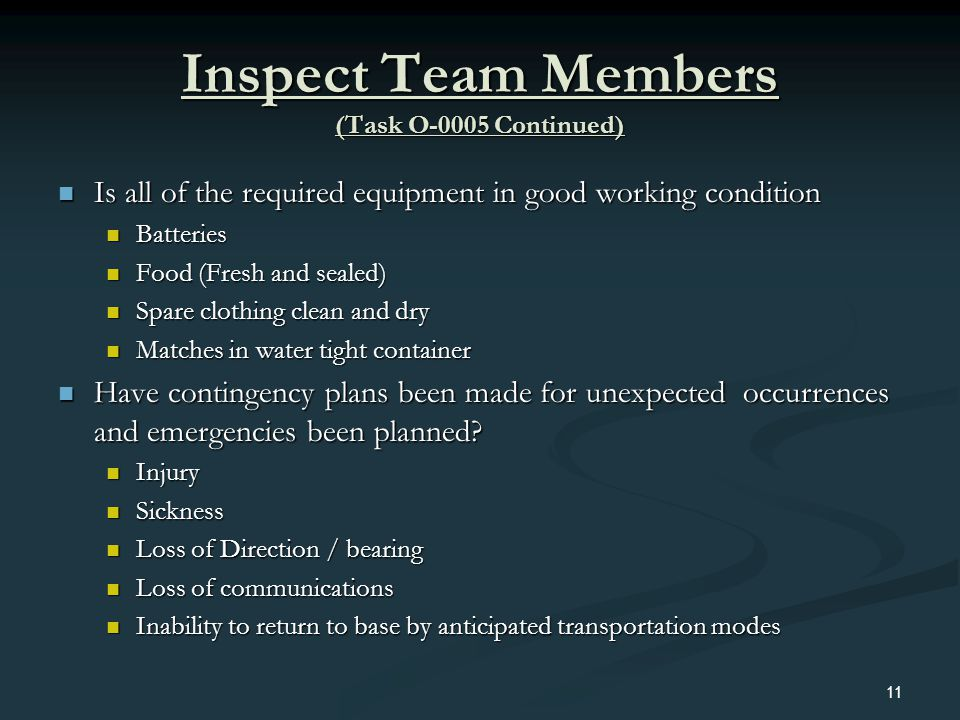 Inspect Team Members (Task O-0005 Continued)
