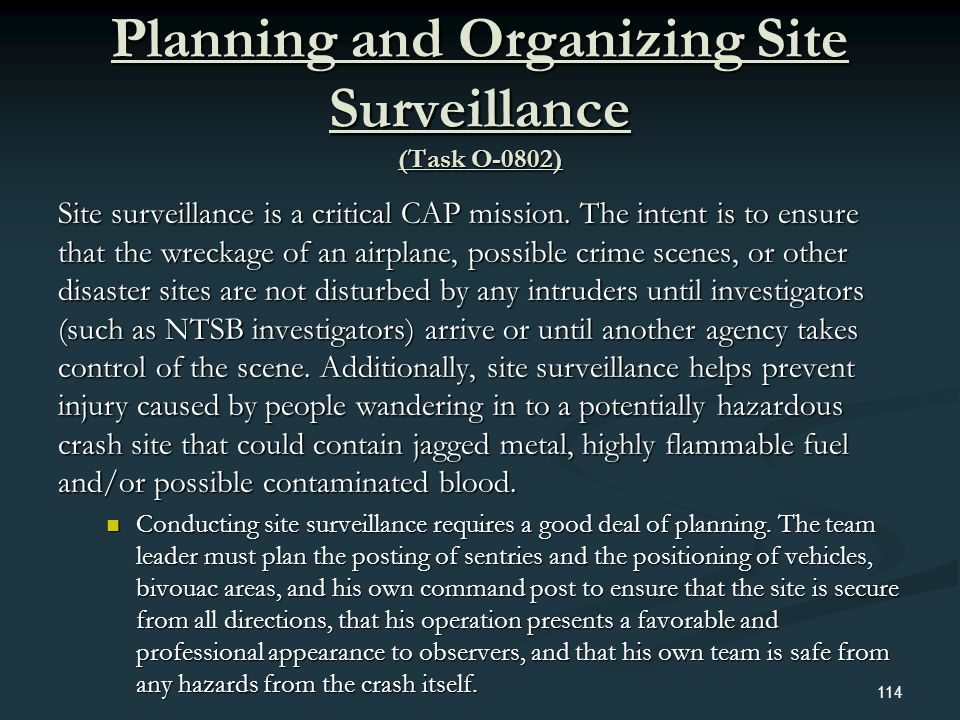 Planning and Organizing Site Surveillance (Task O-0802)