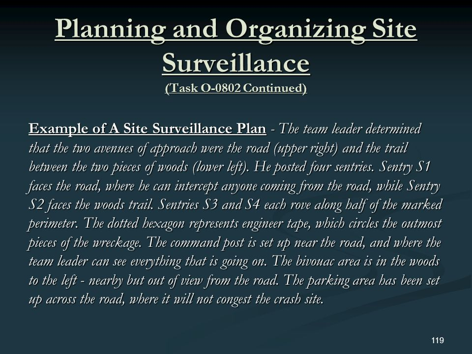Planning and Organizing Site Surveillance (Task O-0802 Continued)