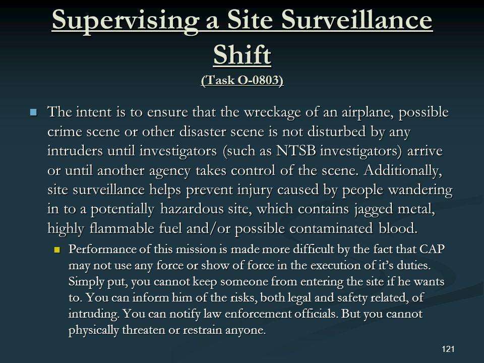 Supervising a Site Surveillance Shift (Task O-0803)