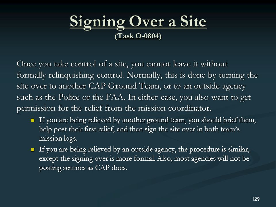 Signing Over a Site (Task O-0804)