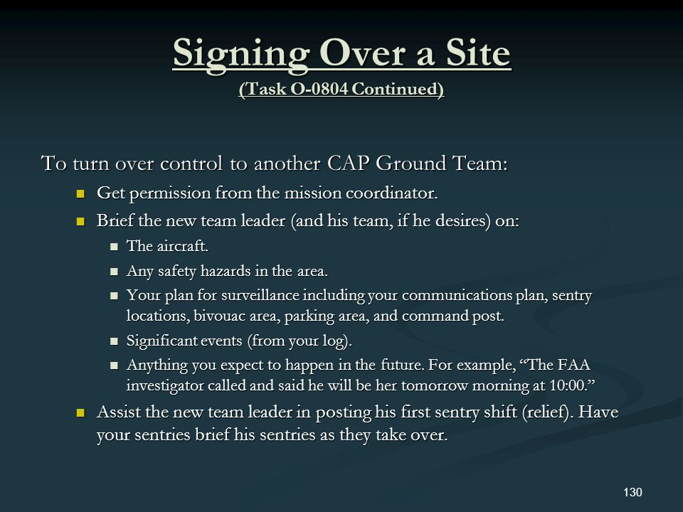 Signing Over a Site (Task O-0804 Continued)