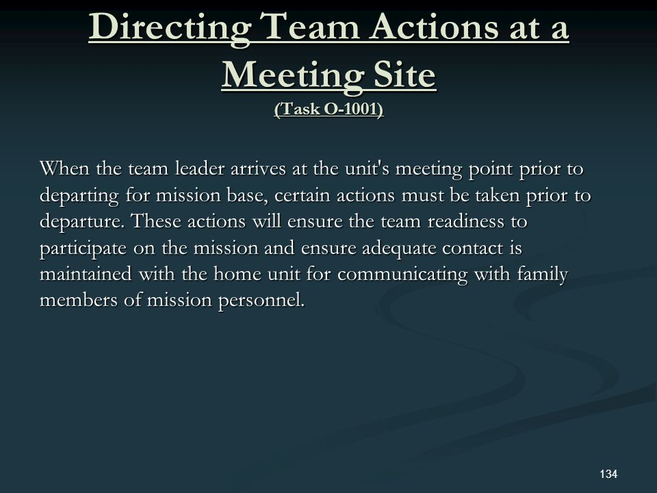 Directing Team Actions at a Meeting Site (Task O-1001)