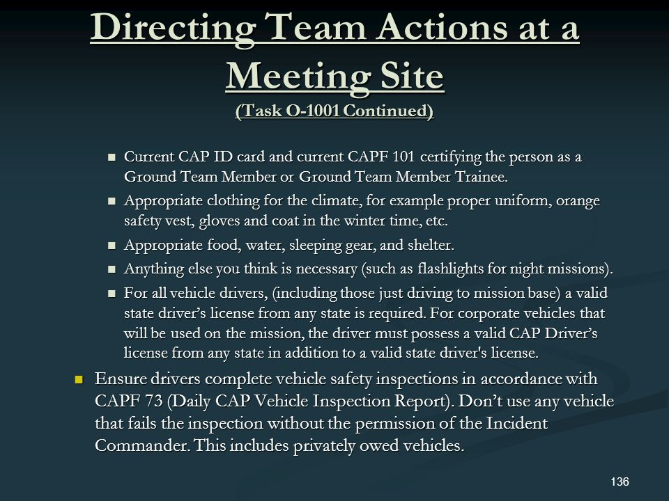 Directing Team Actions at a Meeting Site (Task O-1001 Continued)