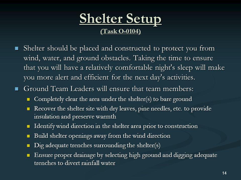 Shelter Setup (Task O-0104)