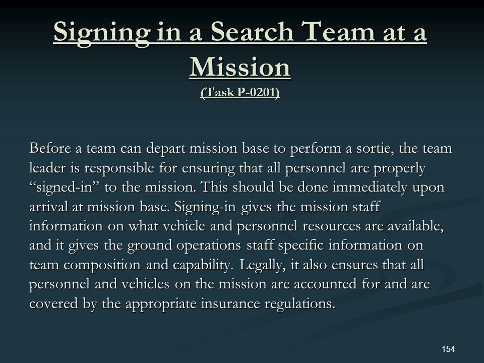 Signing in a Search Team at a Mission (Task P-0201)