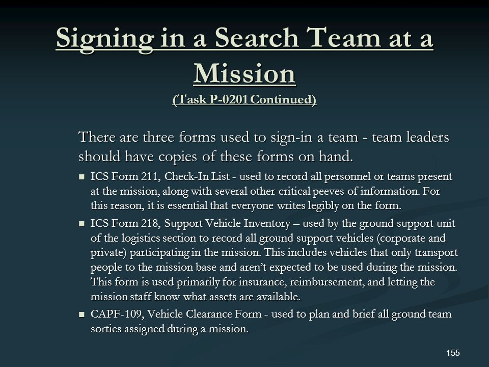 Signing in a Search Team at a Mission (Task P-0201 Continued)