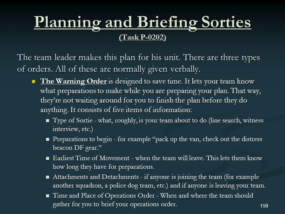Planning and Briefing Sorties (Task P-0202)