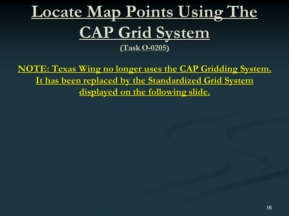 Locate Map Points Using The CAP Grid System (Task O-0205)