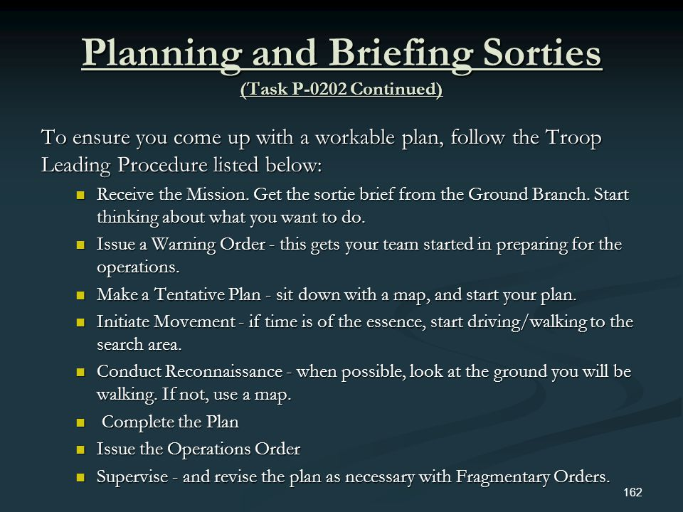 Planning and Briefing Sorties (Task P-0202 Continued)