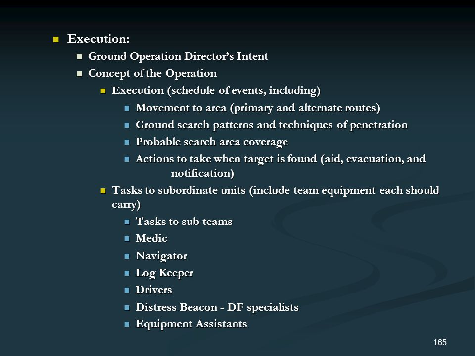 Execution: Ground Operation Director's Intent Concept of the Operation