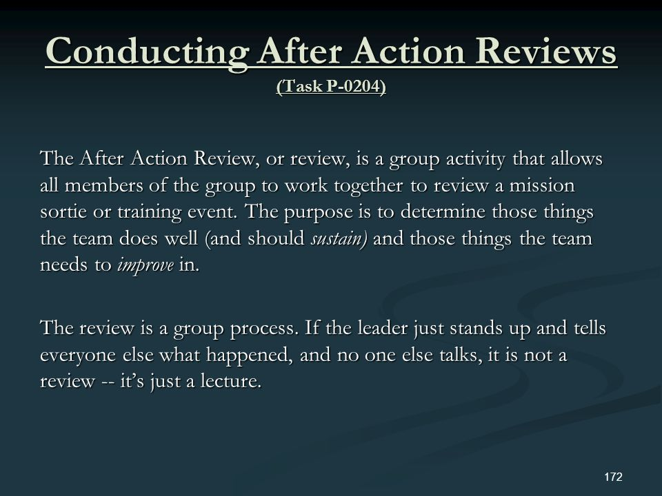 Conducting After Action Reviews (Task P-0204)