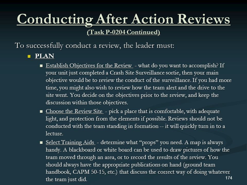 Conducting After Action Reviews (Task P-0204 Continued)