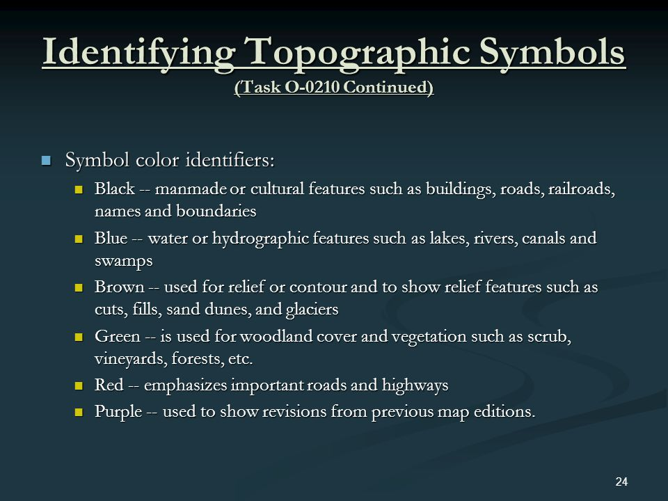 Identifying Topographic Symbols (Task O-0210 Continued)