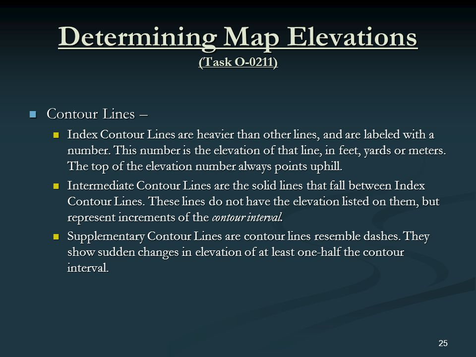 Determining Map Elevations (Task O-0211)