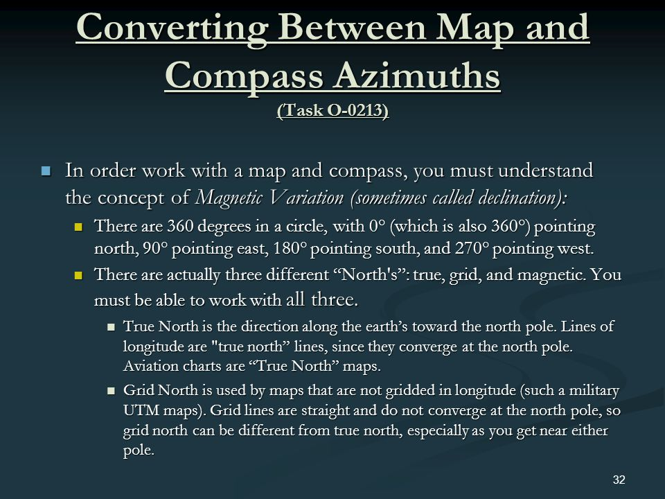 Converting Between Map and Compass Azimuths (Task O-0213)