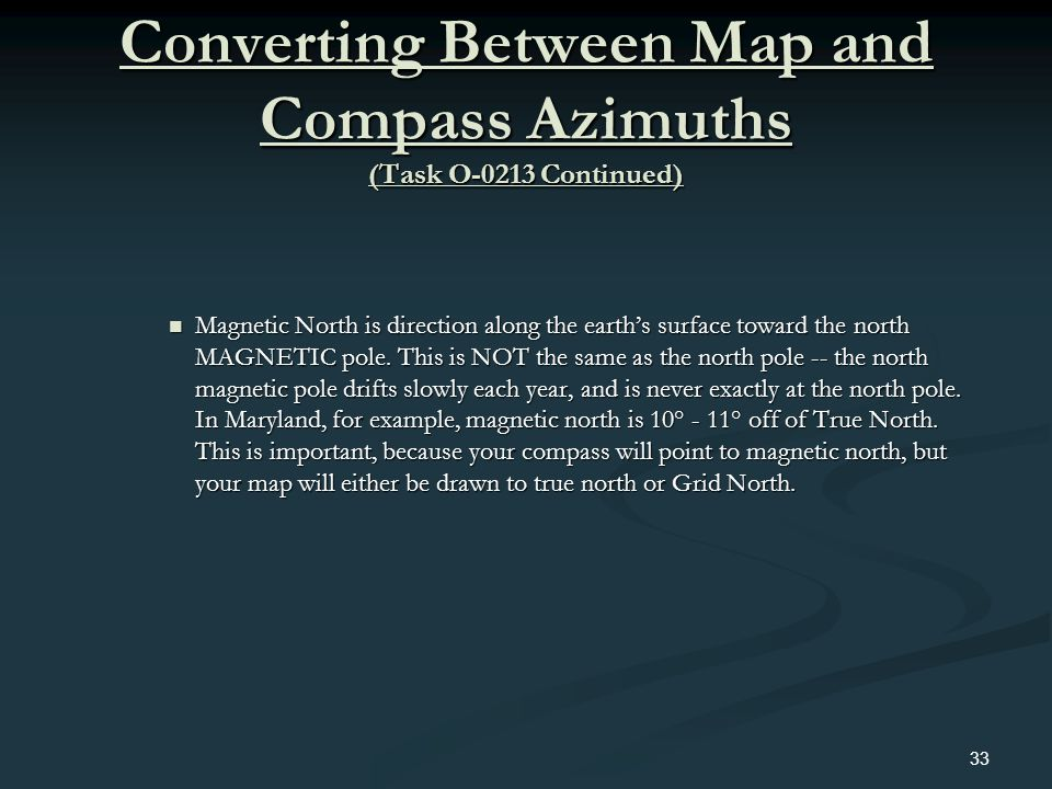 Converting Between Map and Compass Azimuths (Task O-0213 Continued)