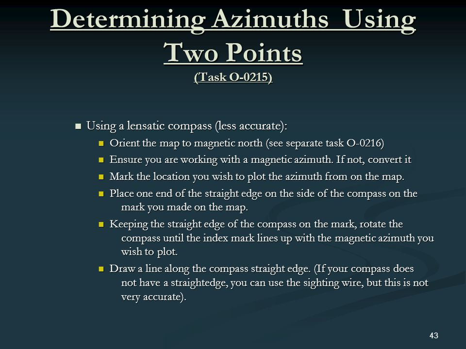 Determining Azimuths Using Two Points (Task O-0215)