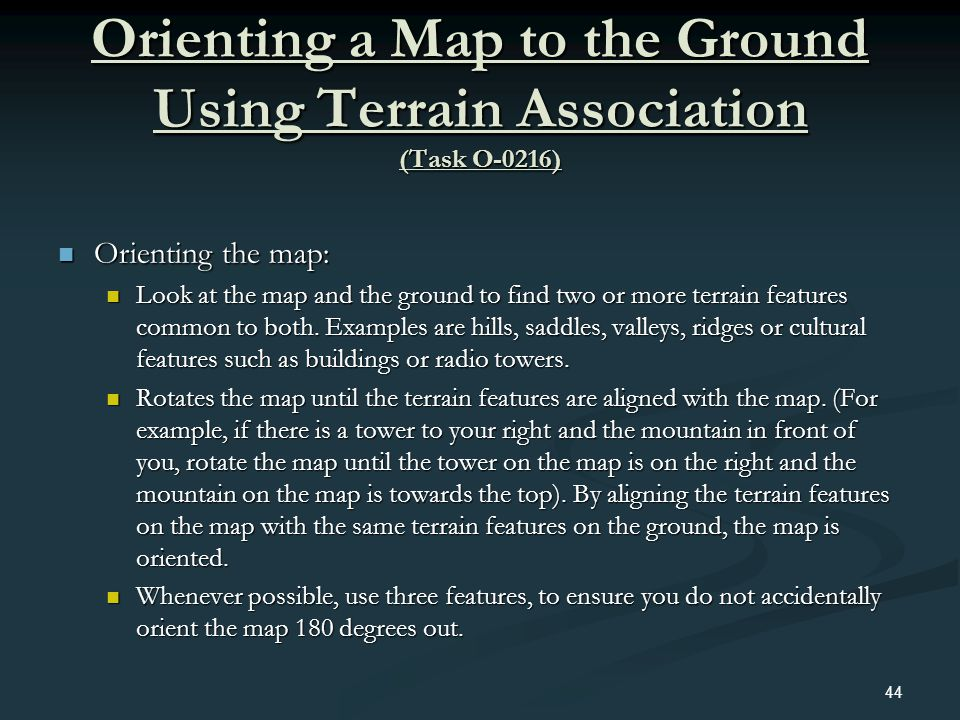 Orienting a Map to the Ground Using Terrain Association (Task O-0216)