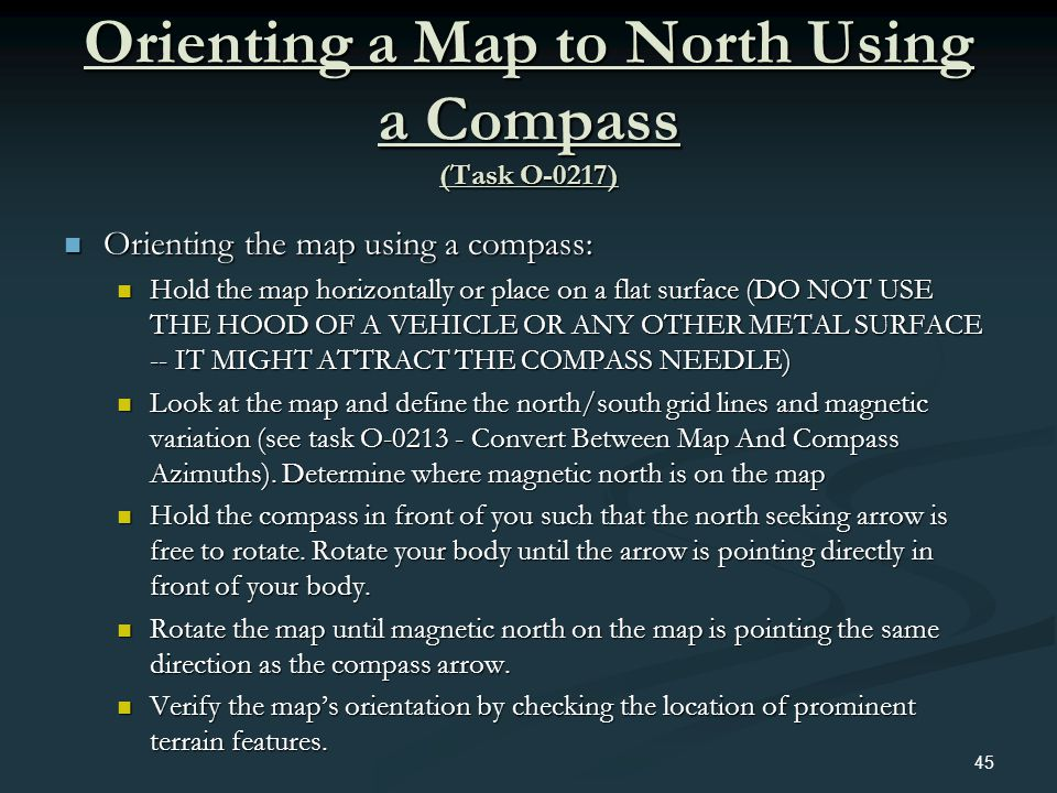 Orienting a Map to North Using a Compass (Task O-0217)