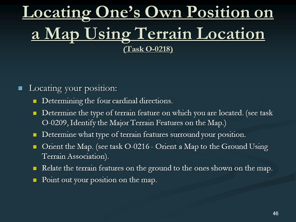 Locating One's Own Position on a Map Using Terrain Location (Task O-0218)