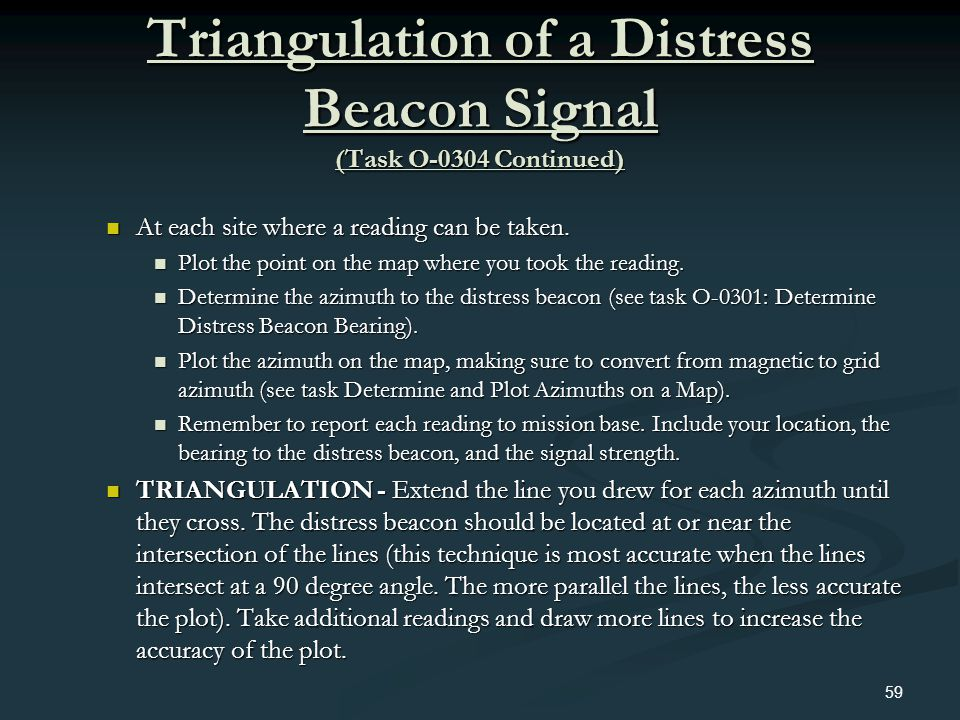 Triangulation of a Distress Beacon Signal (Task O-0304 Continued)