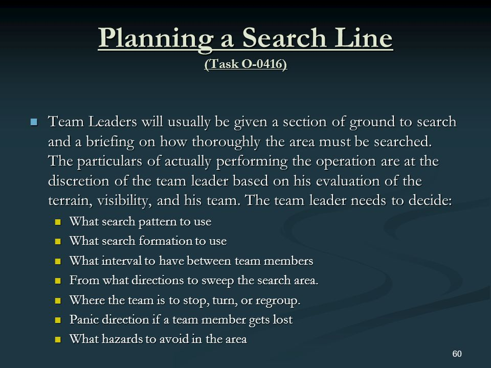 Planning a Search Line (Task O-0416)