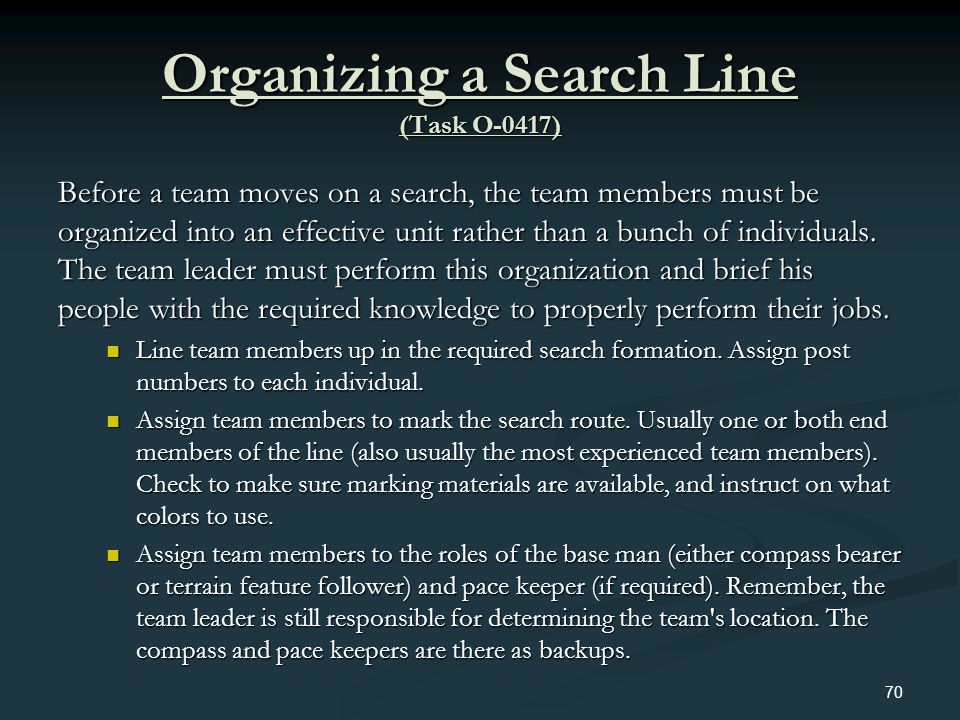 Organizing a Search Line (Task O-0417)