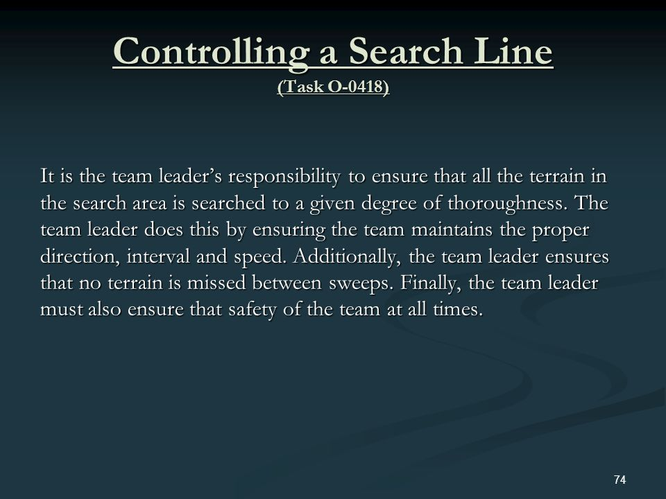 Controlling a Search Line (Task O-0418)
