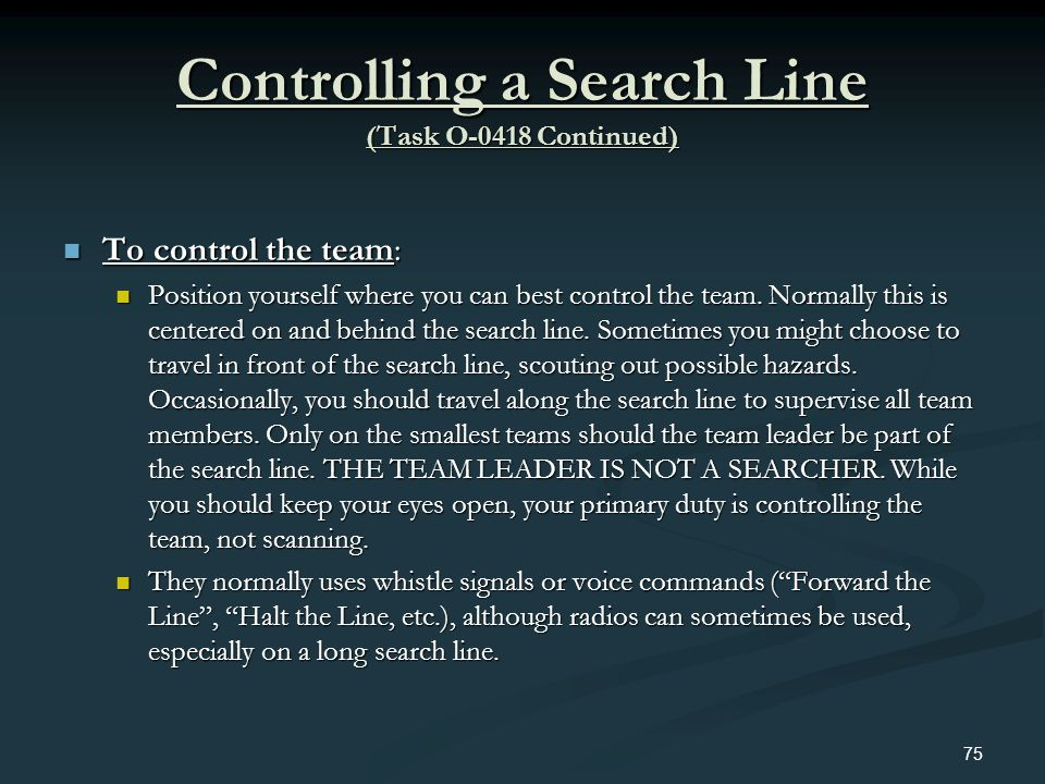 Controlling a Search Line (Task O-0418 Continued)
