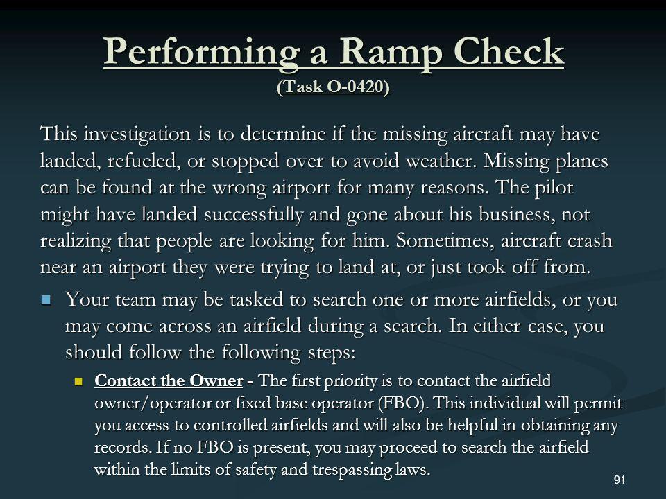 Performing a Ramp Check (Task O-0420)