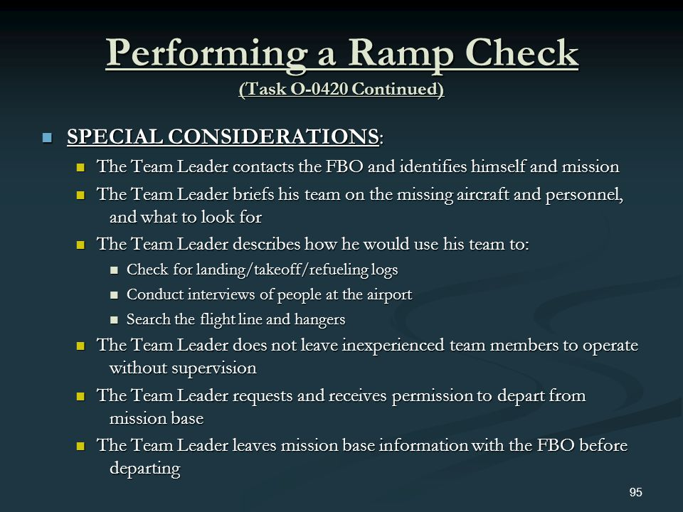 Performing a Ramp Check (Task O-0420 Continued)