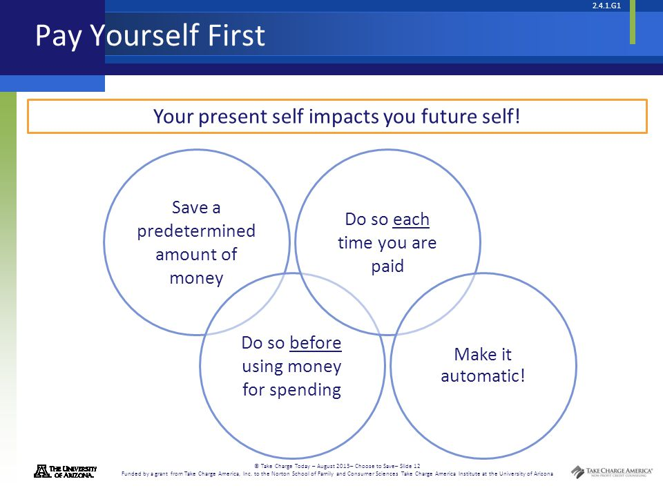 Pay Yourself First Your present self impacts you future self!