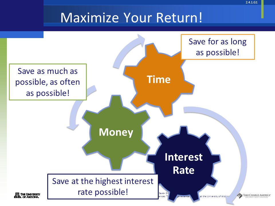 Maximize Your Return! Save for as long as possible!