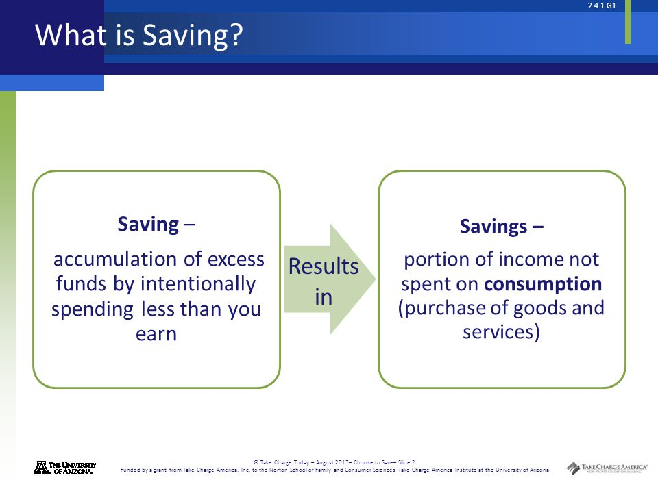 What is Saving Results in Saving –