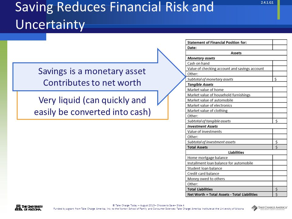Saving Reduces Financial Risk and Uncertainty