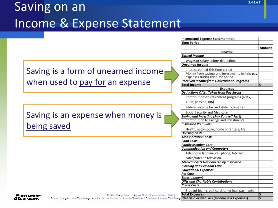 Saving on an Income & Expense Statement
