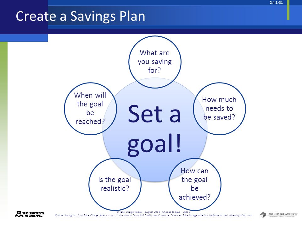 Set a goal! Create a Savings Plan What are you saving for