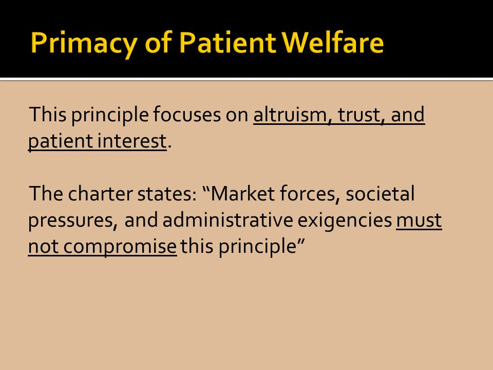 Primacy of Patient Welfare