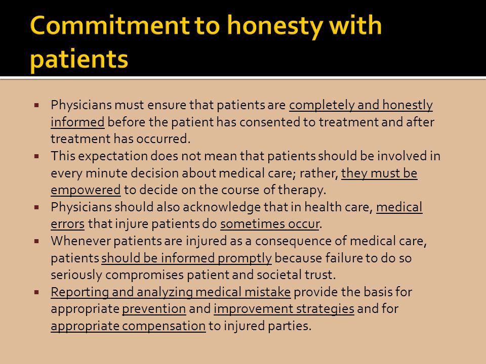 Commitment to honesty with patients