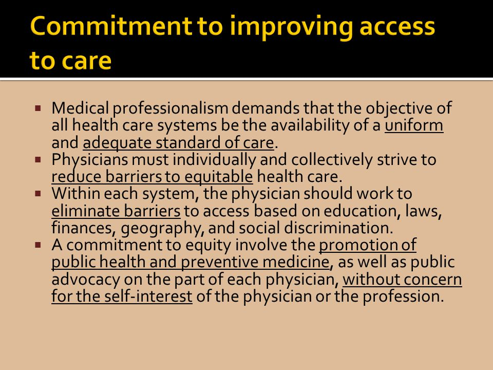 Commitment to improving access to care