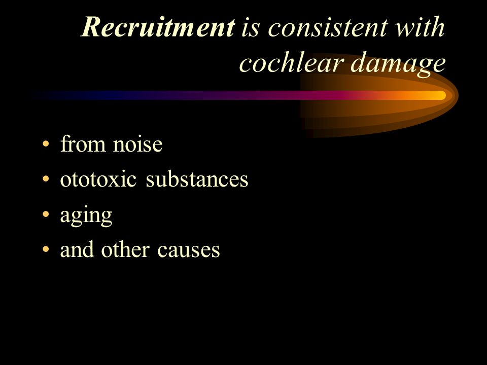 Recruitment is consistent with cochlear damage