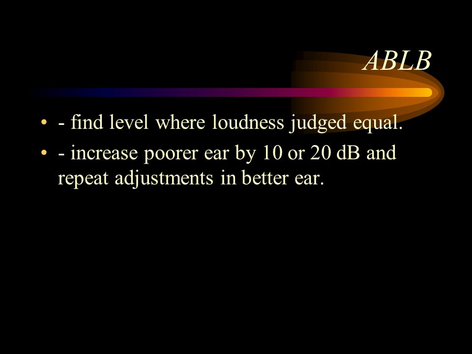 ABLB - find level where loudness judged equal.