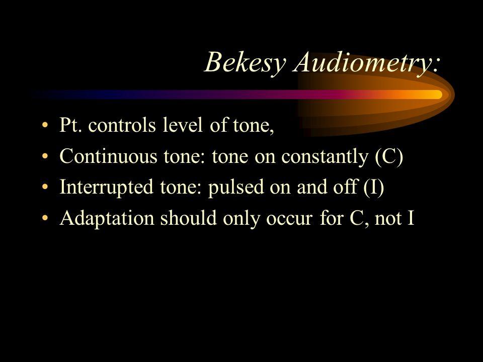 Bekesy Audiometry: Pt. controls level of tone,
