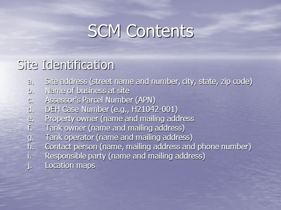 SCM Contents Site Identification