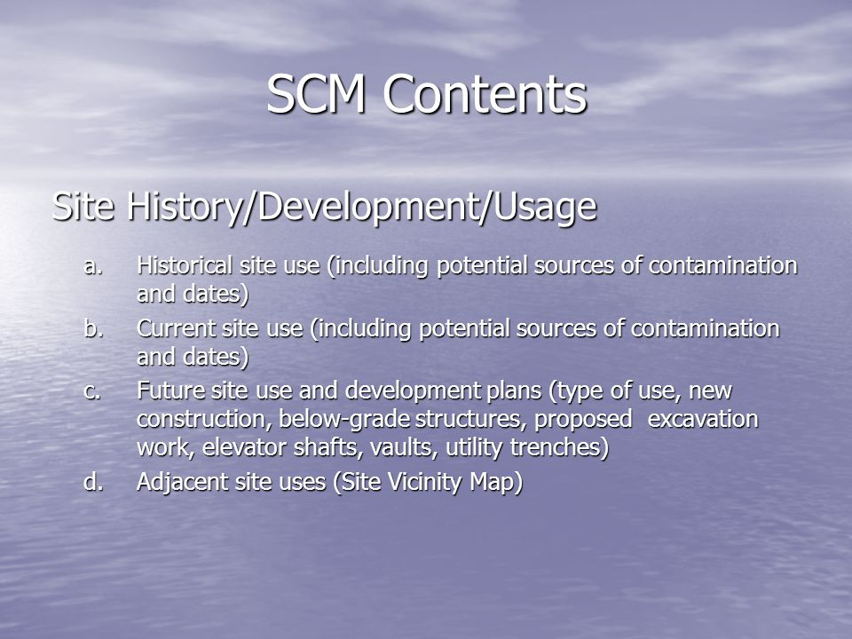 SCM Contents Site History/Development/Usage